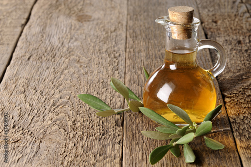 olive oil on a wooden table
