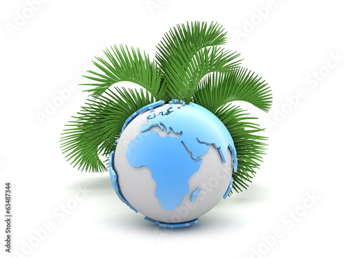 Earth globe and palm tree on white background