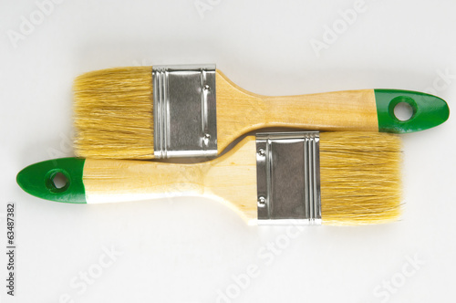 Two paint brushes closeup