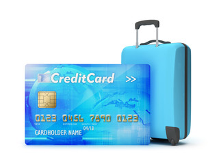 Pay by credit card for holiday - concept illustration