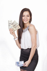 girl with a fan money from dollars and Euro