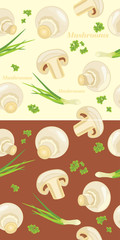 Mushrooms with parsley and chives. Seamless background