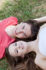 Smiling friendly young teenage couple