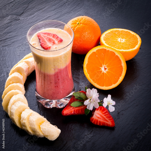 canvas print picture Strawberry Banana smoothie