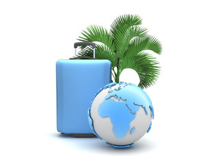 Travel bag, palm tree and earth globe isolated on white