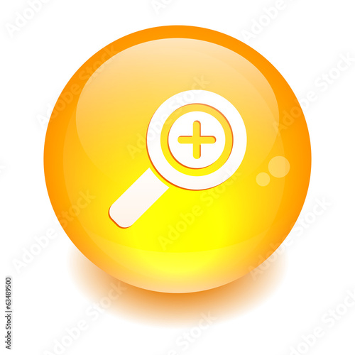 button loupe magnifying glass orange