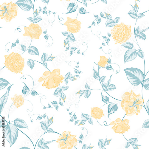 Seamless texture of roses for textiles