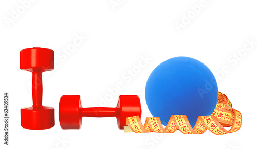 Red dumbbells fitness, measure tape and blue ball isolated on wh