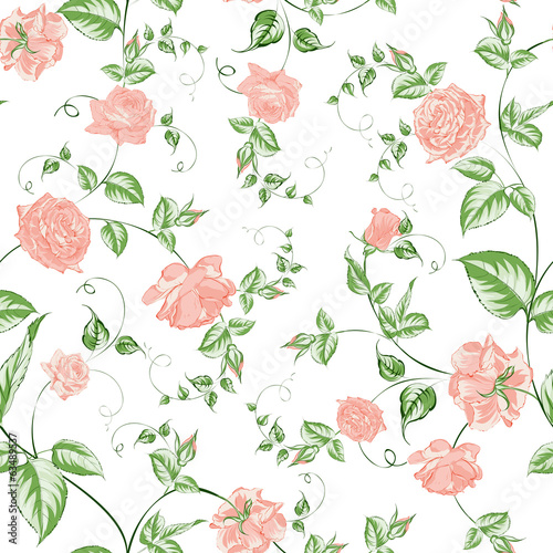 Seamless texture of beautiful roses for textiles
