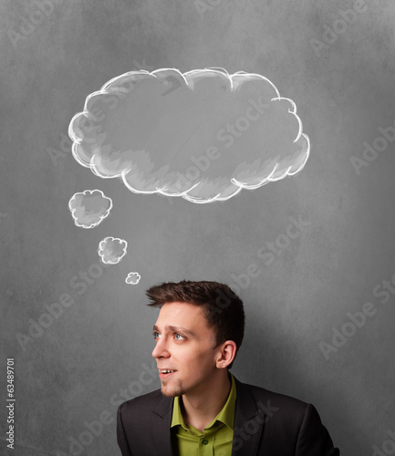 Thoughtful businessman with cloud above his head