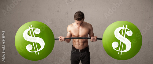 muscular man lifting green dollar sign weights