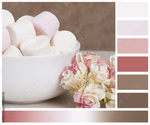 Heap Of Marshmallows In White Bowl. Paper Roses. Palette With Co