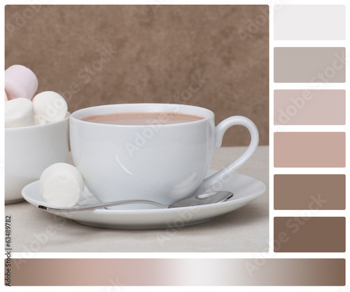 Heap Of Marshmallows In White Bowl. Hot Chocolate Drink. Palette