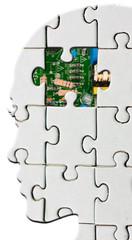 concept femme bionique, cerveau électronique
