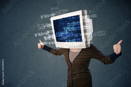 Human cyber monitor pc calculating computer data concept