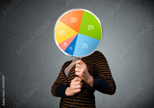 Young woman holding a pie chart