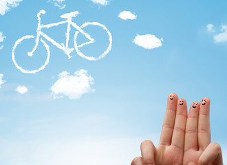 Happy smiley fingers looking at a bicycle shapeed cloud