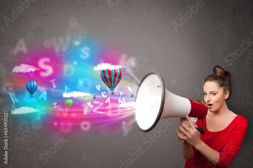 Girl shouting into megaphone and abstract text and balloons come