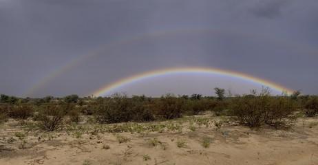 Rare double rainbow , Kalahari desert