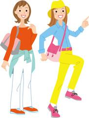 女性二人ハイキング