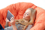 Attractive blonde with tablet