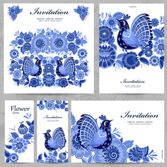 Collection of floral greeting cards for your design