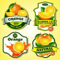 orange badges and stickers