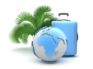 Earth globe, suitcase and palm tree