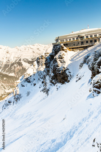 Hotel in ski resort Bad Gastein in winter mountains, Austria