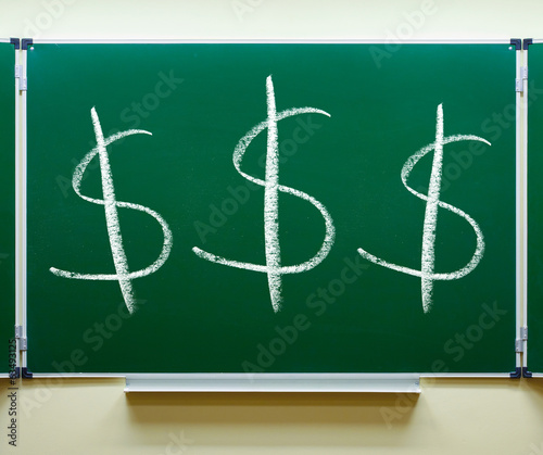 dollar currency signs on chalkboard