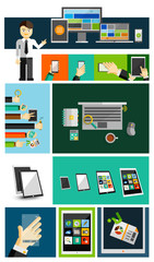 Business life and mobile devices flat concepts