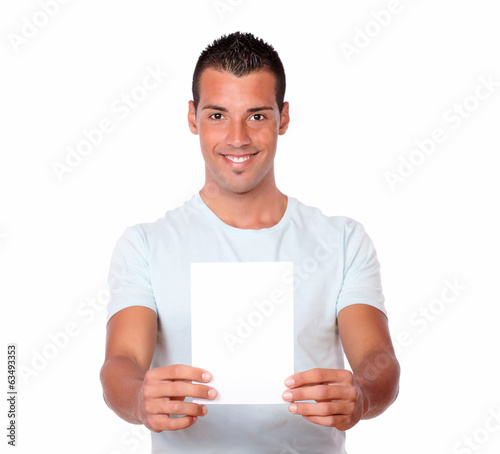 Handsome man holding a white card