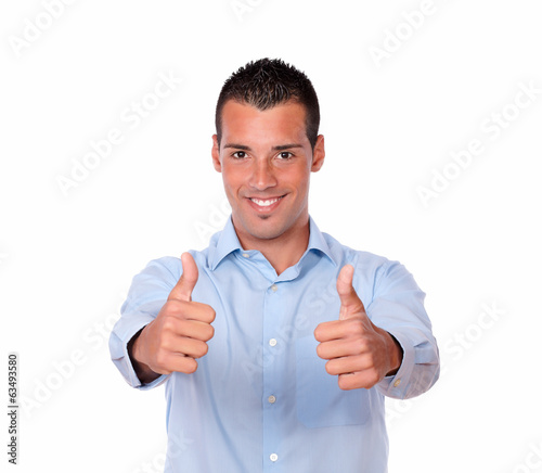 Charming latin guy with ok sign