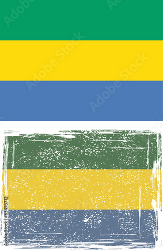 Gabon grunge flag. Vector illustration.