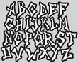 Graffiti font alphabet different letters. Vector