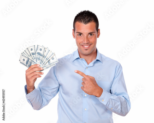 Cute man holding and pointing his savings