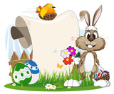 Fototapety Bunny with flowers and Easter eggs