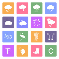 Weather icons set, flat design vector