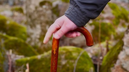 Man's hand with walking stick