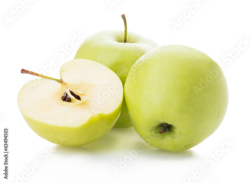 yellow apples and apple slices on white background