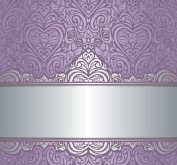 Silver & violet luxury vintage invitation background design