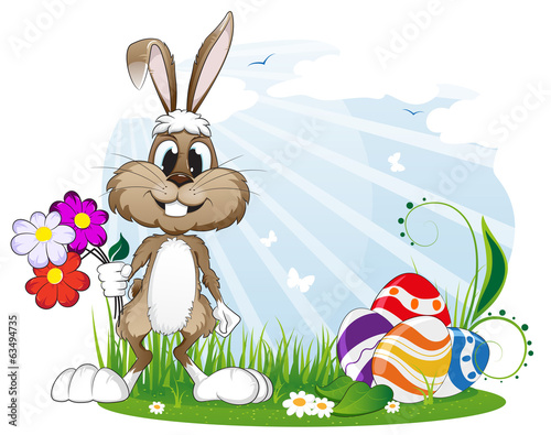 Rabbit with Easter eggs and flowers