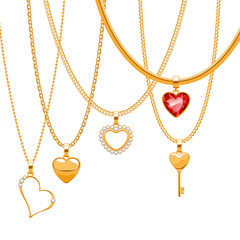 Set of golden chains with heart pendants. Precious necklaces.