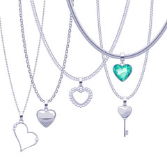 Set of silver chains with heart pendants. Precious necklaces.