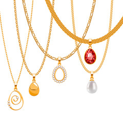 Set of golden chains with egg form pendants. Precious necklaces.