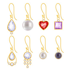 Set of assorted golden earrings with gemstones and pearls.