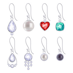 Set of assorted silver earrings with gemstones and pearls.