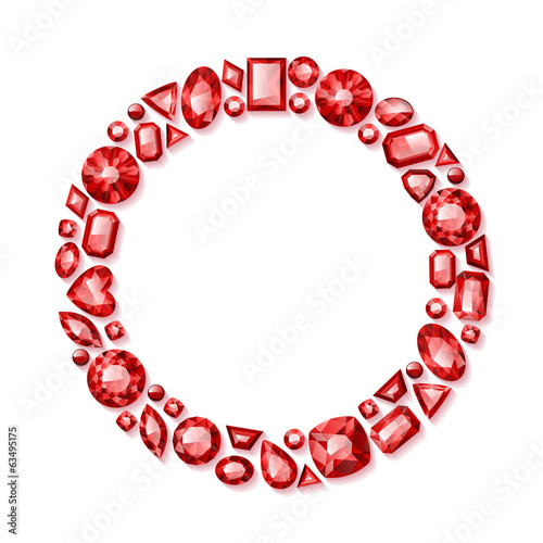Shiny red gemstones frame.