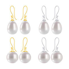 Golden and silver earrings with pearls - round and drop forms.