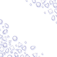 Frame of white sparkle gemstones on white background.